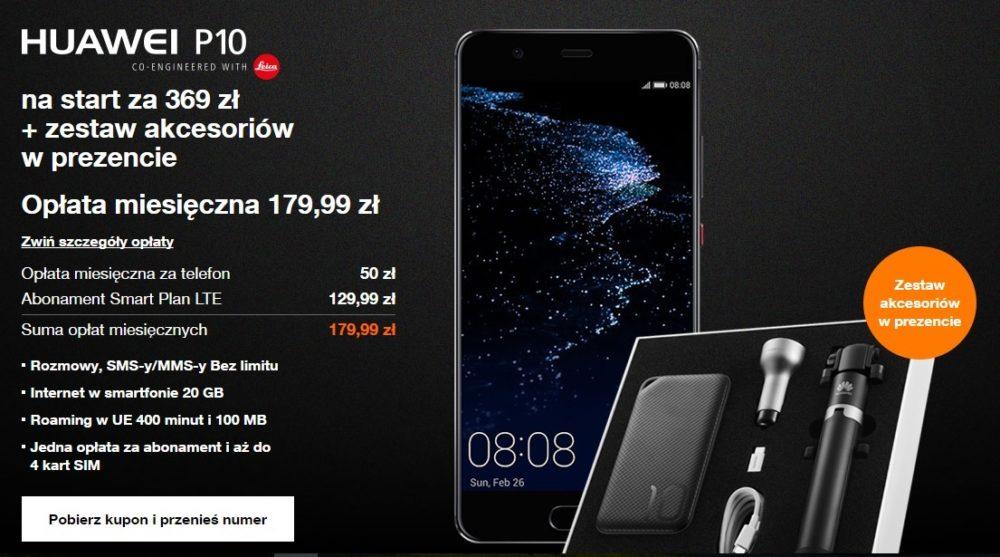 Huawei P10 w przedsprzedaży. Orange trochę lepszy od Play ...